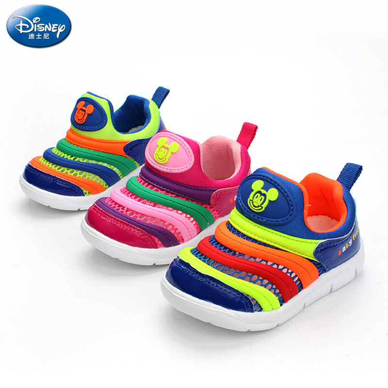 2019 Disney new children's caterpillar casual shoes boys and girls baby 1-3 anti-skid lightweight mesh shoes