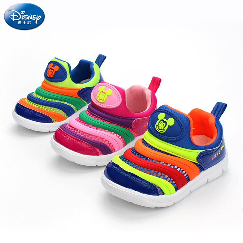 2018 Disney new children's caterpillar casual shoes boys and girls baby 1-3 anti-skid lightweight mesh shoes