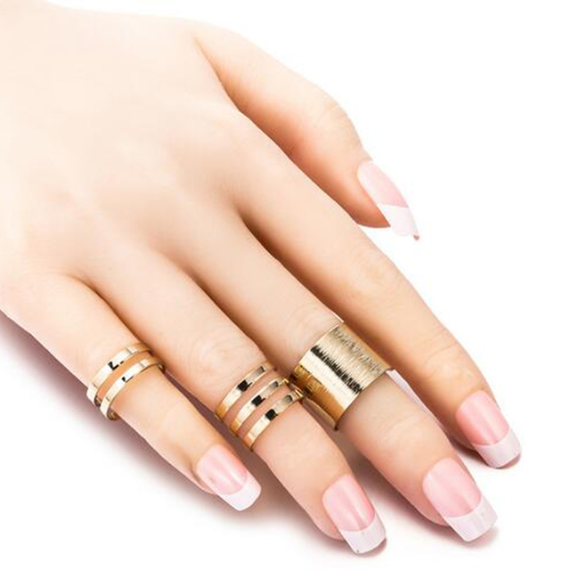 1 Set/3 Pcs Punk Gold Silver Rings 3