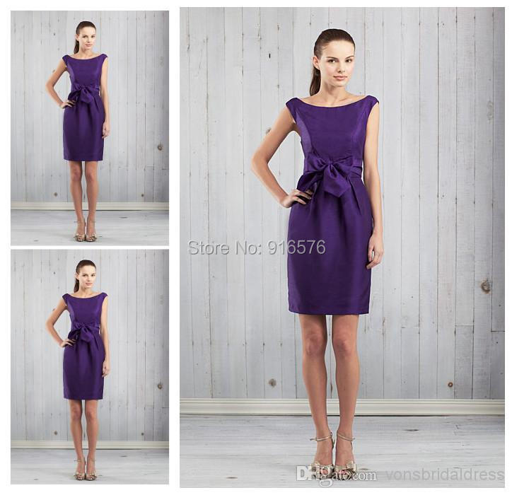 A Line Mini Purple Taffeta Bridesmaid Dresses 2015Cheap ...