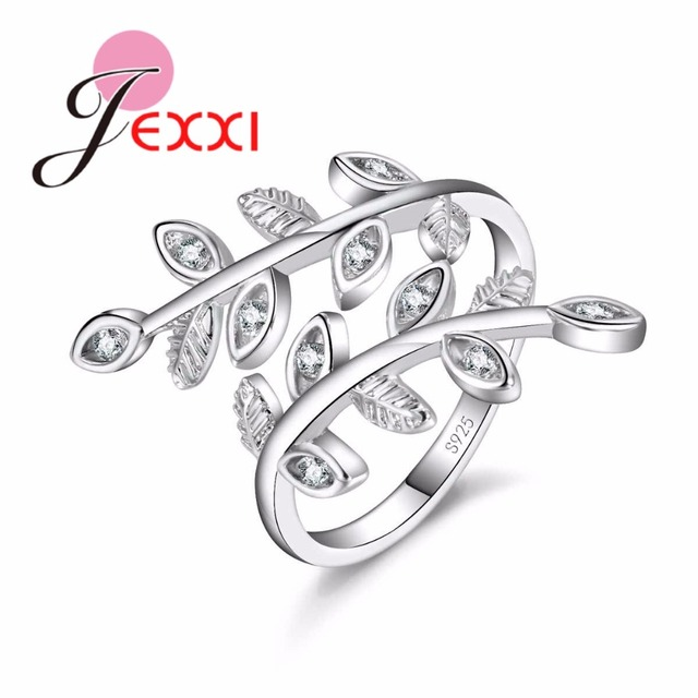 JEXXI Luxury S90 Silver Ring Adjustable Setting AAA Cubic Zirconia Leaves Shaped