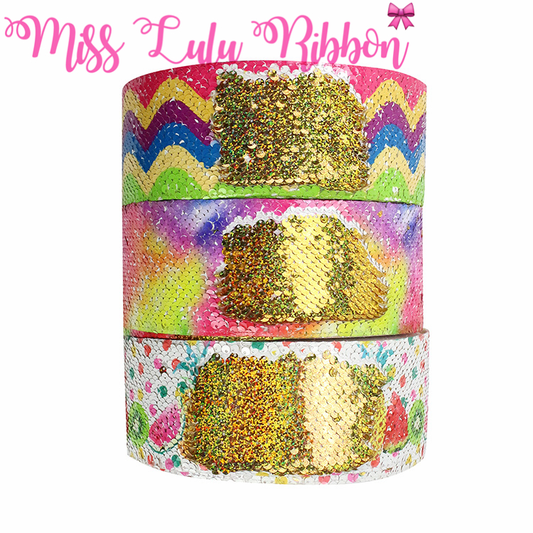 3 75mm Rainbow Waves Galaxy Watermelon Fruits Double Reversible Hologram Gold Sequin Ribbon Hair Band Making