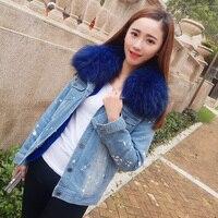 Brand 2017 New Fur Coat Autumn Winter Coat Women Holes Denim Jacket Parka Real Raccoon Fur