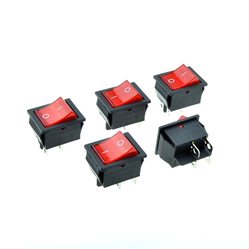 5PCS Red Indicator Light Rocker Boat Switch DPST 4 Pins 2 Positions ...