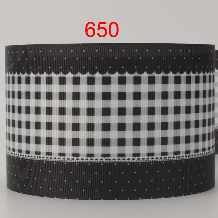 3 inch 75 mm 7 5 cm black and white lattice with dots fringe printed grosgrain ribbon for gift. Black Bedroom Furniture Sets. Home Design Ideas