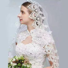 2019 Women Lace Wedding Veil 3 *1.5Meters Long Cathedral One Layer Ivory/White Tull Appliques Marriage Bridal