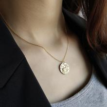 925 Sterling Sliver Capricorn Constellation Chokers Necklaces Baroque Coin Disc Pendant Choker Layered Chain Necklace For Women peri sbox 925 sterling sliver face pendant chokers necklace minimalist coin disc choker necklaces chic layered chain necklaces