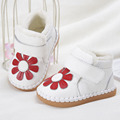 2017 Winter Infant Plush Shoes Leather Baby Girls First Walkers With Flower Loop Baby Walkers Shoes Toddlers Shoes Size 2-6.5
