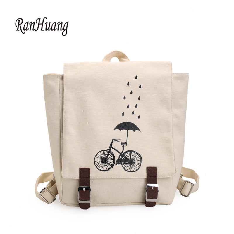 RanHuang 2017 Women Canvas Backpack Fashion Printing Backpack Preppy Style School Bags For Teenage Girls Black and White Color canvas backpack women for teenage boys school backpack male