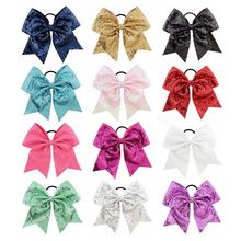 Fashion Korean version of the 8-inch large bow hair accessories mermaid fish scale sequins swallowtail ring baby tools