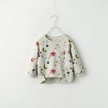 Свитер с цветочным узором для девочек детские толстовки с круглым вырезом и длинными рукавами для девочек 2, 3, 4, 5, 6, 7, 8 лет, Детская верхняя одежда