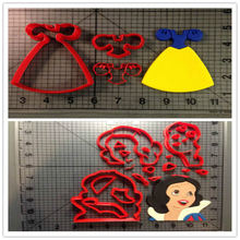 Snow White Dress Cookie Cutter Set Fondant Cupcake Top Custom Made 3D Printed Cookie Cutter Set For Cake Decorating Tools animal lion zebra giraffe cookie cutter set custom made 3d printed fondant cupcake top for cake cutter stamp decorating moulds