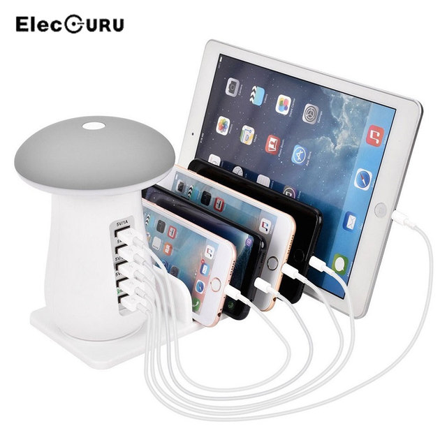 the best attitude 9b2db 3be50 US $29.99 25% OFF|5 USB Ports Fast Charger 3.0 Universal Phone Charger for  iPhone 6S 7 8/Samsung Galaxy S8/Xiaomi Mushroom Shaped LED Desk Lamp -in ...