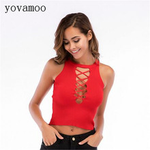 Yovamoo Crop Tops Fashion Sexy Bandage Cross Straps Hollow Out Knitted Suspenders Women 2018 Red Summer Top