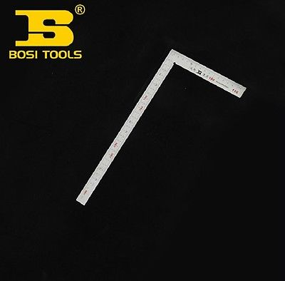 BOSI Polished 150mm/300mm Two-Side Metric/ Inch Steel Carpenters Square sosw 150 x 300mm stainless steel metric try square ruler