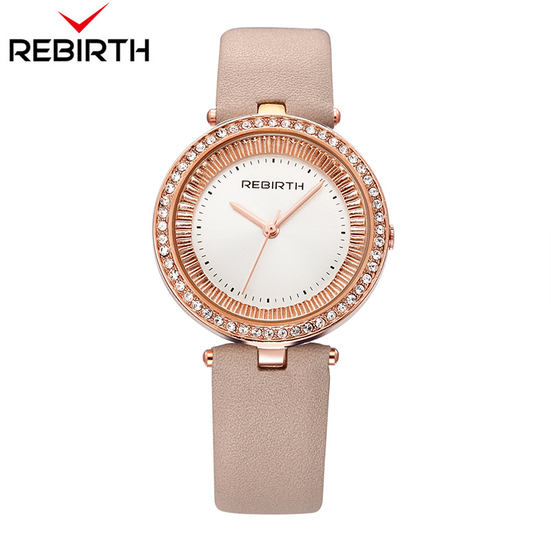 New REBIRTH Fashion Quartz Watches Women Diamonds Wrist Watch leather Watchband Top Luxury Brand Ladies Dress Clock Female стоимость