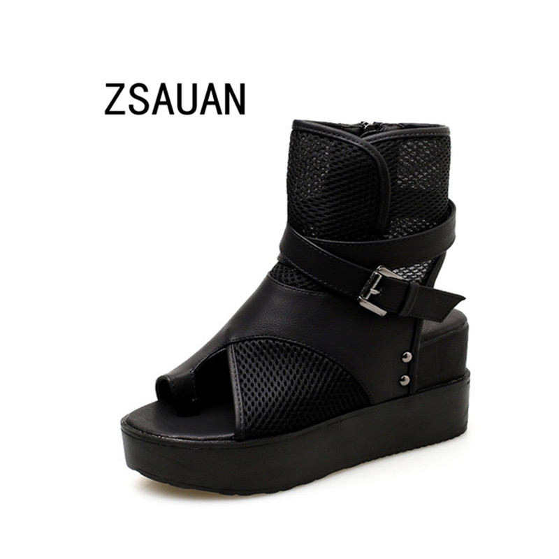 ZSAUAN Women Summer Ankle Boots Casual Peep Toe Black PU With Mesh Hollow Shoes For Woman Rome Style Cool BootsZSAUAN Women Summer Ankle Boots Casual Peep Toe Black PU With Mesh Hollow Shoes For Woman Rome Style Cool Boots