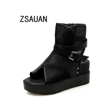 ZSAUAN Women Summer Ankle Boots Casual Peep Toe Black PU With Mesh Hollow Shoes For Woman Rome Style Cool