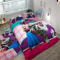Disney «Холодное сердце» постельное белье 3d шлифования хлопка постельное белье Твин Полный Queen Размер Девушка Дети постельных принадлежносте