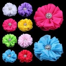120 pçs/lote 6.5 cm 15 cores Grampos de Cabelo Ruffled Bailarina Chiffon Flor de Cabelo Com Strass Botão Flores de Tecido Para Headbands