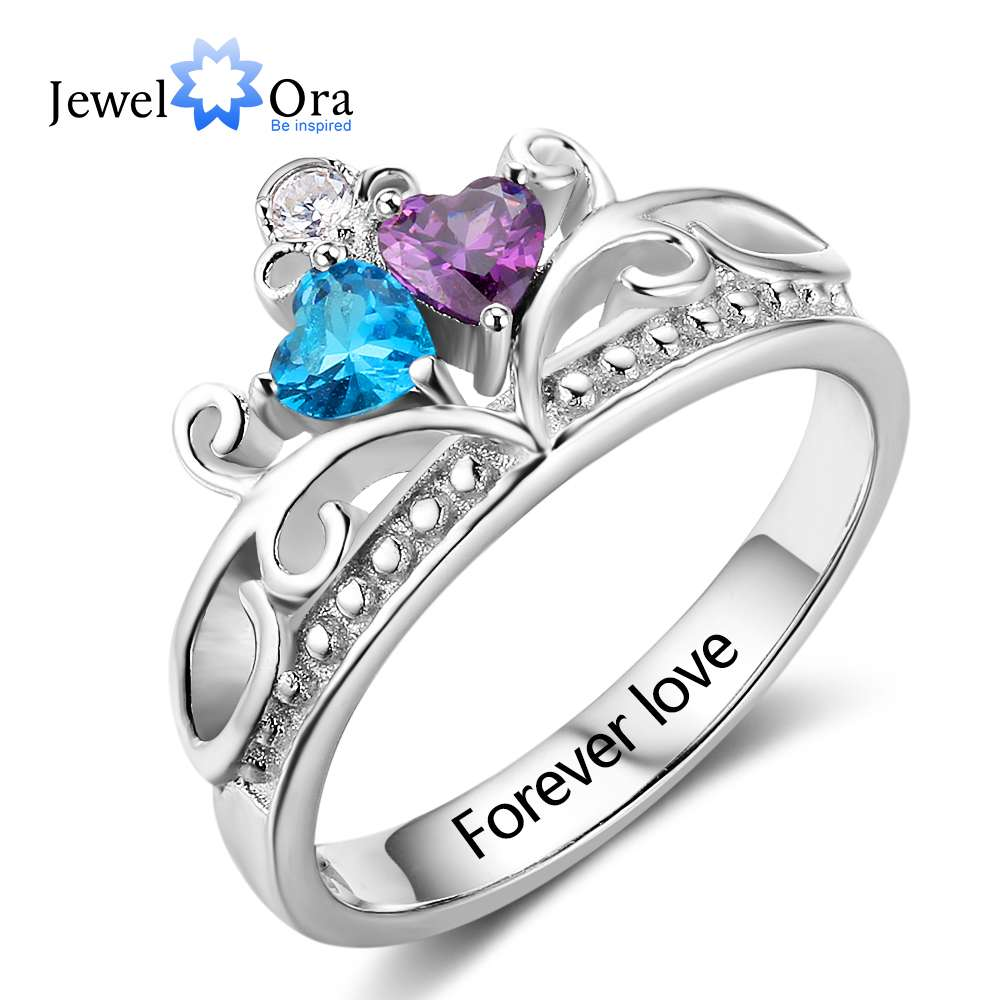 Heart Pattern Crown Birthstone Ring 925 Sterling Silver Engrave Name Anniversary Personalise Rings For Women (JewelOra RI102882) chic crown pattern heart bracelet for women