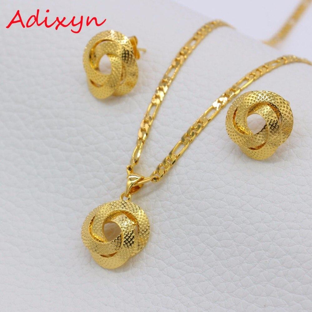 Adixyn Light Dubai Necklace/Earrings/Pendant Jewelry Set for Women/Girls/Kids Fashion Metal Russia Jewelry Gifts N01206