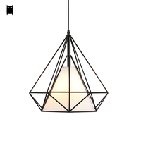 Black Iron Fabric Birdcage Pendant Lighting Fixture Scandinavian Modern Simple Pyramid Hanging Diamond Lamp Lustre Dining Room