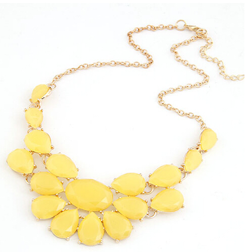 Fine Jewelry lady Banquet Accessories multicolour acrylic gem choker necklace Pendant jewelry statement bib necklace women LS53