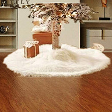BITFLY Christmas tree skirt White Plush Fur Carpet Merry Christmas Decoration for Home Noel Natal Tree Skirts New Year decor(China)