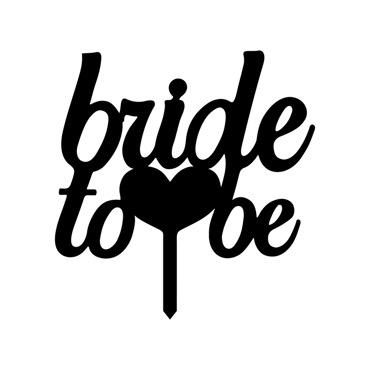 Bride To Be Love Heart Wedding Cake Flags Black White Gold