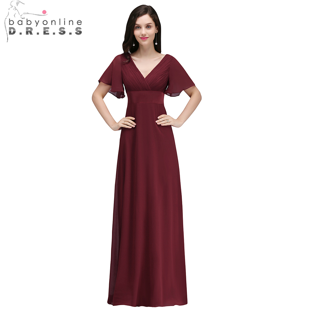3b3726f4200 Babyonline Cheap Burgundy Long Chiffon Evening Dresses 2019 Sexy V-neck Formal  Party Dresses Cap
