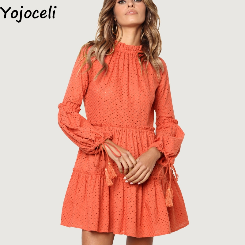 0353c49317f68 Skup Tanie Yojoceli Lace Tassel Ruffle Dress Women Autumn Party ...