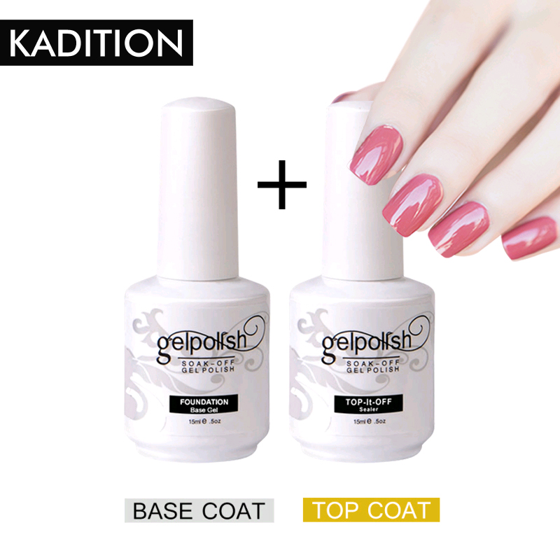 KADITION Topcoat + Basecoat Nail Polish Basecoat Kit LED UV Soak Off Coat Nail Gel Polish Semi-permanent Nail Polish Gel Coat