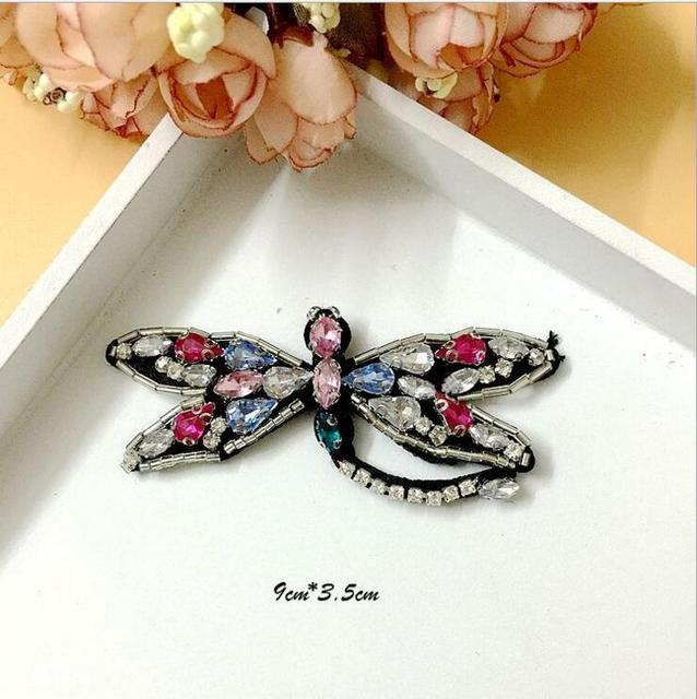 Sequined dragonfly Patch for Clothes Sewing on Rhinestone Beaded Applique  for Jackets Jeans Bags Shoes Beading Sequins Applique 8937ad584e94