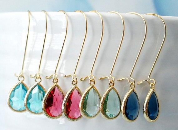 QIAMNI Beautiful Blue Zircon Wire Drop Earring Bridesmaid Gift for Women and Girls