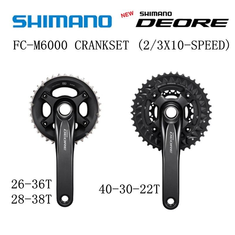 SHIMANO DEORE FC M6000 HOLLOWTECH II Crankset M6000 2x10 3x10 Speed BB52 40 30 22T 28