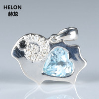 Cute 925 Sterling Silver Pendant 7mm Heart Natural Sky Blue Topaz SI/H Diamonds Without Necklace Trendy White Gold Plated
