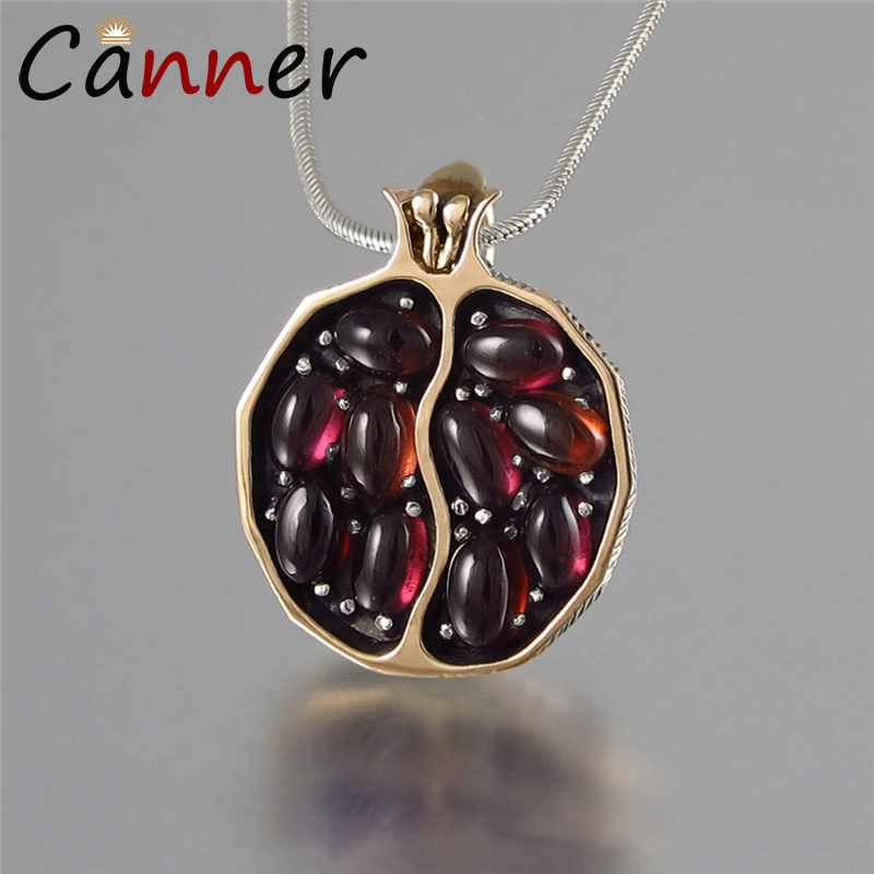 CANNER Classic Pomegranate Necklace Chain Women Pendant/Gold/Silver Natural Stone Choker collier FI