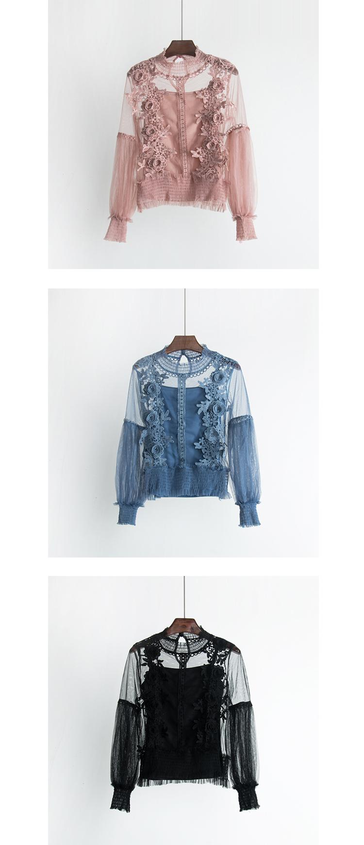 2018 Sweet Long Lantern Sleeve Transparent Hollow Out Mesh Blouses Women Two Pcs Set 3D Flower Mesh Shirts Sweet Flower Mesh Top 9