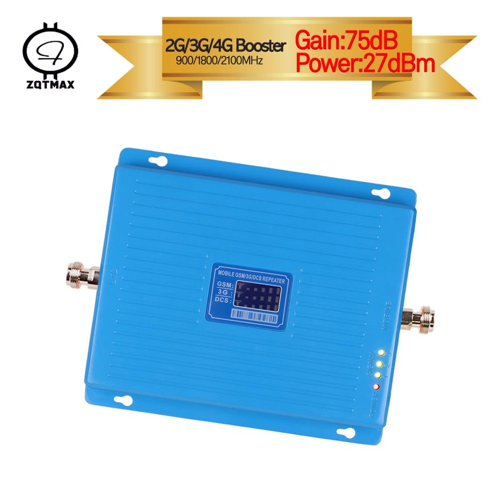 ZQTMAX 2G 3G 4G amplificateur de Signal 900 1800 2100 GSM DCS WCDMA répéteur de Signal de téléphone portable cellulaire UMTS LTE Tri bande cellulaire