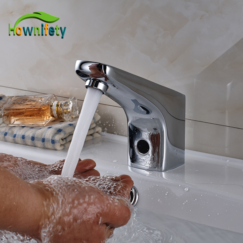 Chrome Solid Brass Bathroom Faucet Hand Touch Hot and Cold Water Mixer Tap