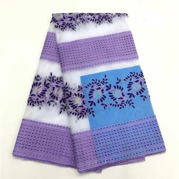 Red de encaje francoafricano de alta calidad garantizado material de moda púrpura y blanco de tela de encaje por 5 yardas/lote