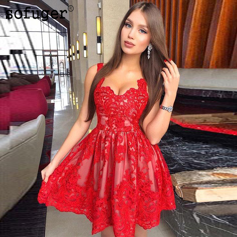 Red Sweetheart A Line Straps Short Homecoming Party Dress Evening Dress Prom Vestidos De Fiesta Formal Special Occasion
