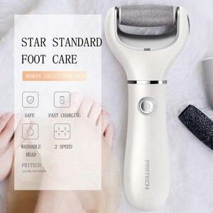 Image 2 - Pritech 2018 elétrica pedicure máquina arquivo para uso do pé ferramenta de carregamento cuidados com os pés removedor calo elétrico rolo moagem
