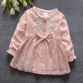 2016 Fashion Spring Autumn Long Sleeve Lace Baby Party Birthday girls kids Children dresses, princess infant Dress Vestido