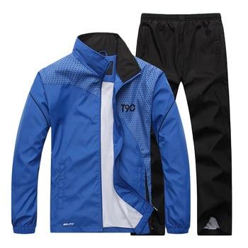 2019 Track Suit Windproof Jogging Clothing Men Sportswear Spring Autumn Tracksuit Set Hoodies Sweatshirts+Pant Two Piece