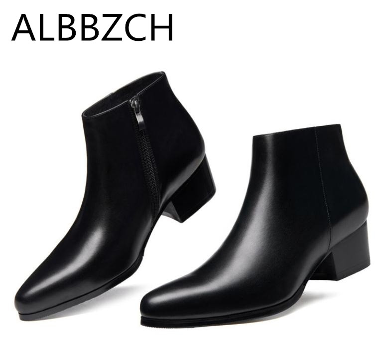 Autumn Winter New Mens 5 CM High Heels Warm Genuine Leather Ankle Boots Shoes Men Business Dress Work Boots Black Wedding Shoes