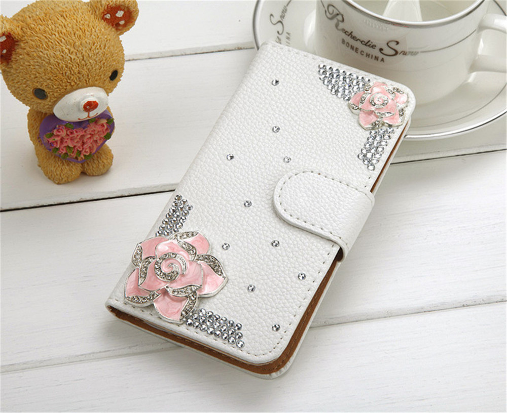 Bling Handmade Rhinestone Leather Flip Wallet Protective Case for iPhone Xs Max 7 8plus 6 6s plus 5s for Samsung S9 S8plus s7 s6 in Flip Cases from Cellphones Telecommunications