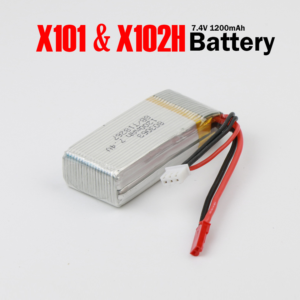 MJX X101 X102H RC Quadcopter Battery High Capacity 7.4V 1200mAh LiPo Battery RC Drone Spare Parts