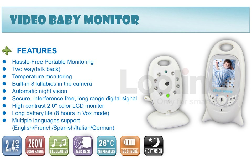 NEW 2.4 inch TFT LCD Wireless Digital video Baby Monitor Night Vision IR LED Temperature Monitoring Security Camera 2 Way Talk
